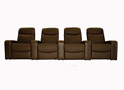 Home Theater Seating - 4 Piece Set in Brown - 8326-4SEAT-BRN