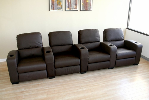 Home Theater Seating - 4 Piece Set in Brown - HT638-4SEAT-BRN