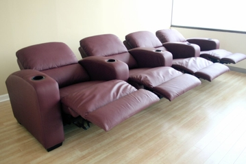 Home Theater Seating - 4 Piece Set in Burgundy - HT638-4SEAT-BUR