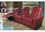 Home Theater Seating - 4 Seater in Red Leather Match - Coaster