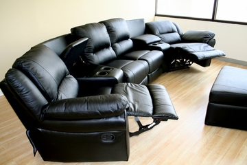 Home Theater Seating - 7 Piece Set in Black - 8327-BLK