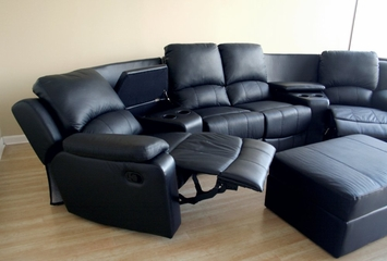 Home Theater Seating - 7 Piece Set in Black - 8802-BLK