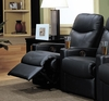 Home Theater Seating Extension Recliner in Black Leather Match - Coaster