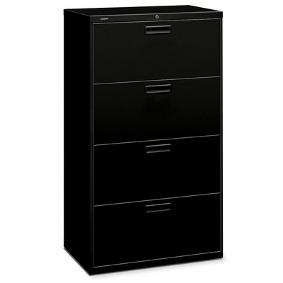 Hon 4-Drawer Lateral Filing Cabinet - Black - HON574LP