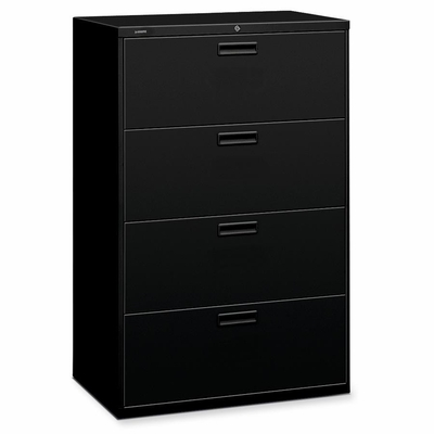 Hon 4-Drawer Lateral Filing Cabinet - Black - HON584LP