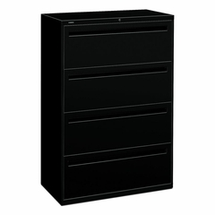 Hon 4-Drawer Lateral Filing Cabinet in Black - HON784LP