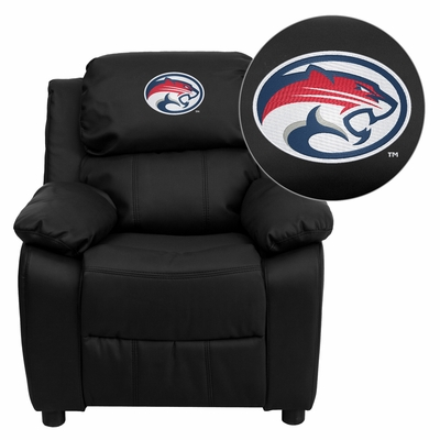 Houston Cougars Embroidered Black Leather Kids Recliner - BT-7985-KID-BK-LEA-45022-EMB-GG