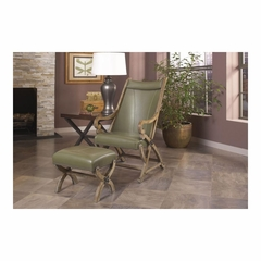 Hunter Sage Leather Chair and Ottoman - Largo - LARGO-ST-L821