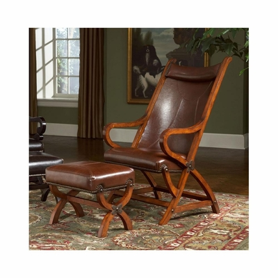 Hunter Tobacco / Brown Leather Chair and Ottoman - Largo - LARGO-ST-L731A