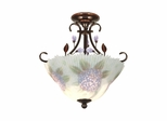 Hydrangea Hand Painted Semi Flush Mount - Dale Tiffany