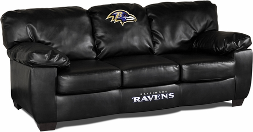 Imperial International Baltimore Ravens Black Leather Classic Sofa