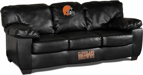 Imperial International Cleveland Browns Black Leather Classic Sofa