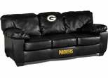 Imperial International Green Bay Packers Black Leather Classic Sofa