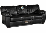 Imperial International Miami Dolphins Black Leather Classic Sofa