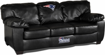 Imperial International New England Patriots Black Leather Classic Sofa
