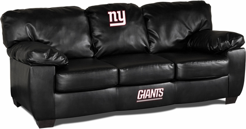 Imperial International New York Giants Black Leather Classic Sofa