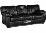 Imperial International Oakland Raiders Black Leather Classic Sofa
