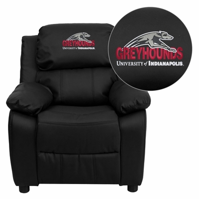 Indianapolis Greyhounds Embroidered Black Leather Kids Recliner - BT-7985-KID-BK-LEA-41083-EMB-GG