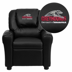 Indianapolis Greyhounds Embroidered Black Vinyl Kids Recliner - DG-ULT-KID-BK-41083-EMB-GG
