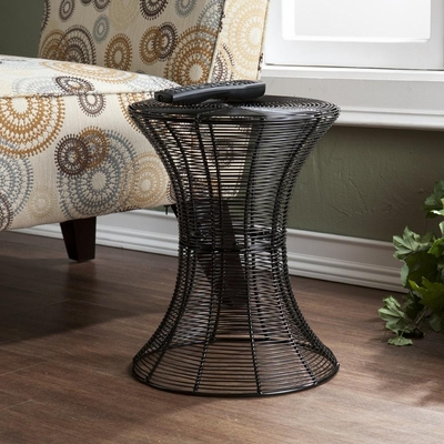 Indoor/Outdoor Round Metal Accent Table - Black - Holly and Martin