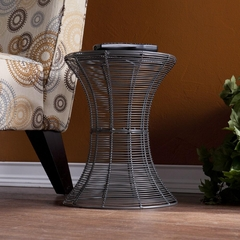 Indoor/Outdoor Round Metal Accent Table - Silver - Holly and Martin