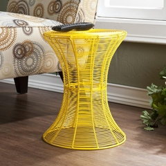 Indoor/Outdoor Round Metal Accent Table - Yellow - Holly and Martin