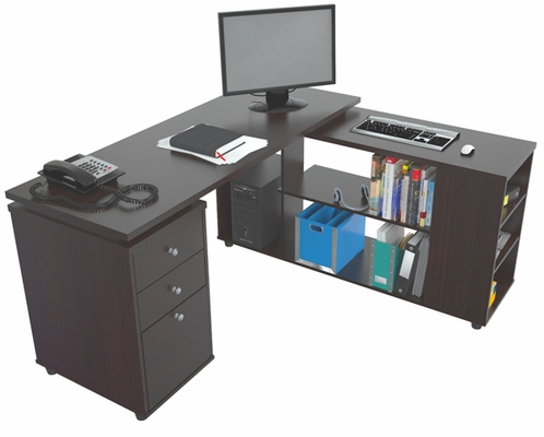 Inval Computer Work Station L Shaped Espresso Wenge
