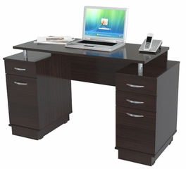 Inval Furniture Double Pedestal Work Center in Espresso
