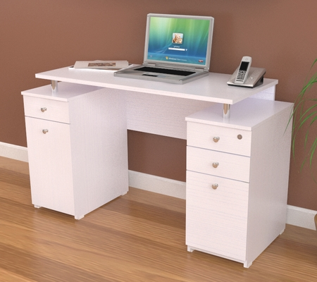 Inval White Laura Computer Writing Desk with Locking File Drawer