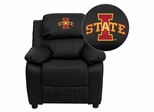 Iowa State University Cyclones Leather Kids Recliner - BT-7985-KID-BK-LEA-45012-EMB-GG