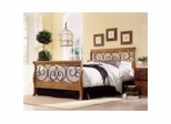 Iron Bed / Metal Bed - Dunhill Bed in Autumn Brown / Honey Oak Finish - Fashion Bed Group