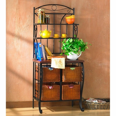 Iron/Wicker Baker's Rack - Holly and Martin