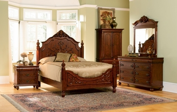 Isabella Eastern King Size Bedroom Furniture Set in Oak - Coaster - 200511KE-BSET