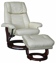Ivory PU Chair and Storage Ottoman Set - Lavena - 19798