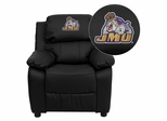 James Madison University Dukes Embroidered Black Leather Kids Recliner - BT-7985-KID-BK-LEA-40015-EMB-GG