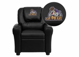 James Madison University Dukes Embroidered Black Vinyl Kids Recliner - DG-ULT-KID-BK-40015-EMB-GG