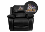 James Madison University Dukes Leather Rocker Recliner - MEN-DA3439-91-BK-40015-EMB-GG