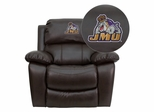 James Madison University Dukes Leather Rocker Recliner - MEN-DA3439-91-BRN-40015-EMB-GG