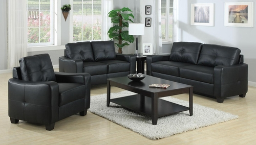 Jasmine 3PC Leather Sofa Set in Black - 502721