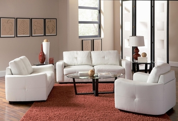 Jasmine 3PC White Leather Sofa Set - 502711