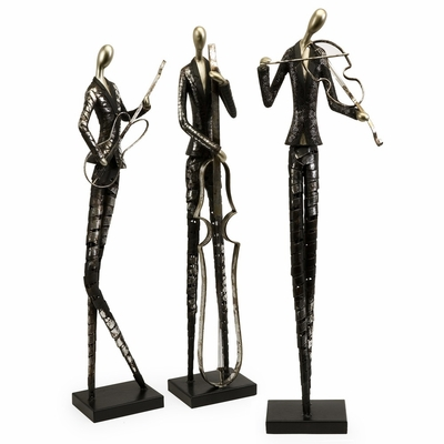 Jazz Club Musician Statues (Set of 3) - IMAX - 53030-3