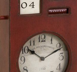 Jerrick Red Distressed Calendar Clock - IMAX - 27575
