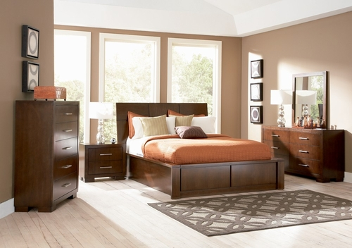 Jessica California King Size Bedroom Furniture Set in Light Cappuccino - Coaster - 200718KW-BSET