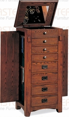 Jewelry Armoire in Mission Oak with Green Lining - Coaster