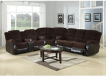 Johanna Reclining Corduroy Sectional in Chocolate - 600363S