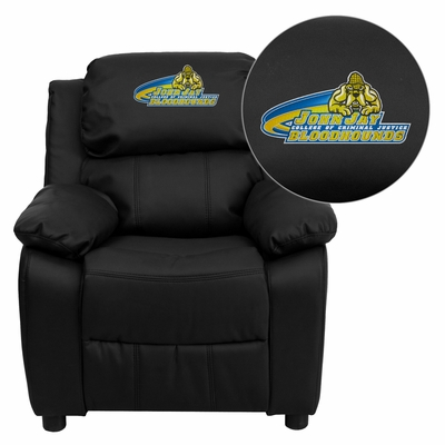 John Jay College of Criminal Justice Bloodhounds Black Leather Kids Recliner - BT-7985-KID-BK-LEA-41040-EMB-GG