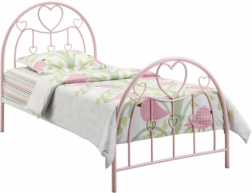 Juliette Twin Metal Bed in Pink - 400571T