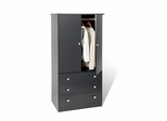Junior Wardrobe with 3 Drawers in Black - Prepac Furniture - JBD-3060