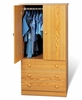 Junior Wardrobe with 3 Drawers in Oak - Prepac Furniture - JOD-3060