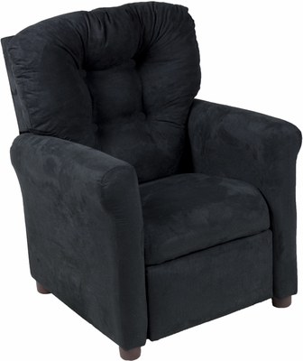 Juvenile Recliner Traditional Rich Black Microfiber